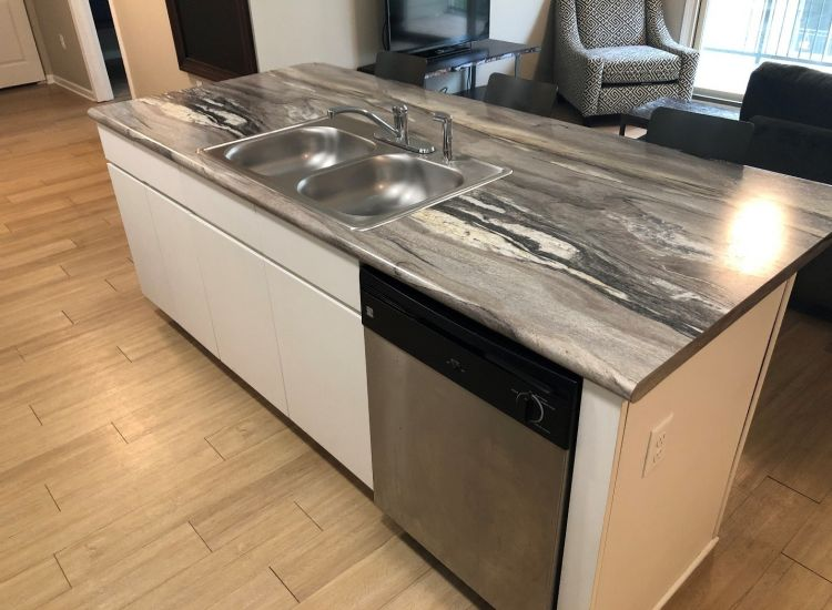 Kitchen and Sink and Dishwasher