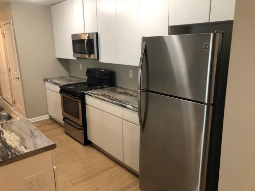 Kitchen and Countertops with Modern Fridge
